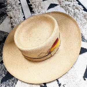 Boaters Hat Woven With Feathers Made in USA